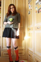 black asos dress - heather gray Topshop sweater - carrot orange Topshop socks -