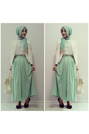 aquamarine maxi skirt Miss Nisa skirt - white Lefon blazer - aquamarine scarf