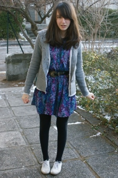 H&M dress - H&M jacket - vintage belt - monoprix tights - H&M shoes
