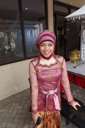 scarf - kebaya top - belt - heels