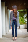 gray lapel boyfriend Band of Outsiders coat - navy dl1961 jeans