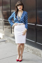 pencil skirt Club Monaco skirt - red Jessica Simpson pumps - polka dot Zara top
