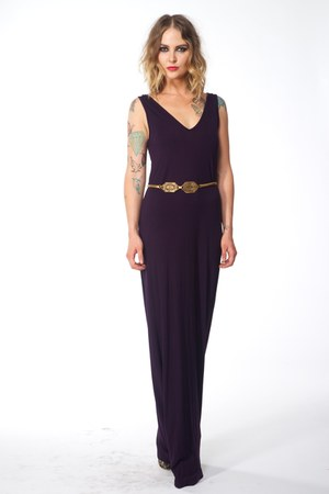 purple jersey Sarah Scott dress - camel vintage belt