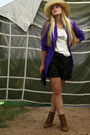 Pink-ebay-blazer-brown-zara-shoes-black-vintage-shorts-black-vintage-purse