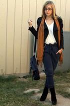 blue Forever21 pants - black Forever21 - black Zara boots