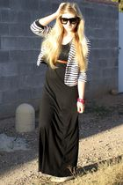 white Mango jacket - black f21 dress - brown vintage belt - black Ebay sunglasse