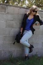 blue f21 shirt - black River Island shoes - black storetscom purse - black f21 b
