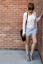 pink VS cardigan - gray f21 shoes - gray hm shorts