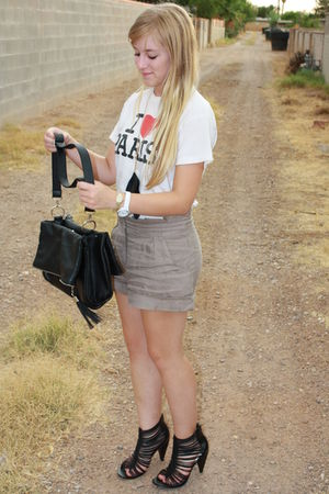 black River Island shoes - brown Forever21 skirt - white shirt - black storetsco