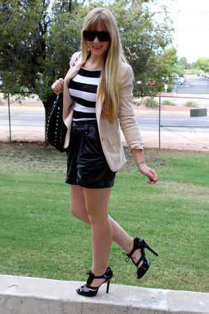 black Dillards shoes - black vintage shorts - beige H&M blazer - asos sunglasses