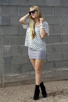 white shirt - gray f21 skirt