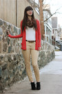Black-target-boots-brown-h-m-scarf-white-urban-outfitters-t-shirt