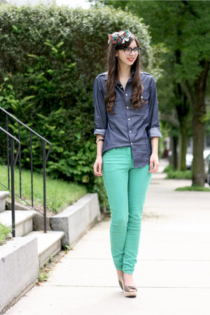 aquamarine H&M jeans - blue Express shirt - light brown Blowfish Shoes heels