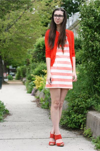 red Jcrew cardigan - light orange Jcrew dress - red seychelles heels