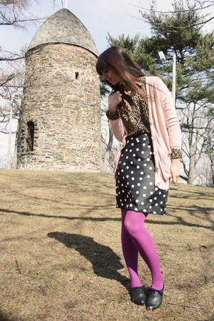 black big buddha shoes - magenta Target tights - black polka dot handmade skirt