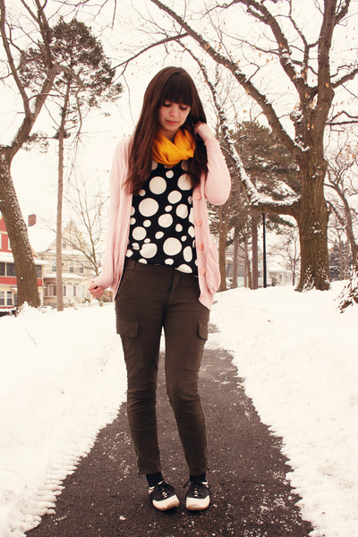 mustard Target scarf - black polka dot handmade top - pink Victorias Secret card
