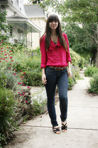 blue BCBGeneration jeans - dark brown leopard Express belt - hot pink Anthropolo