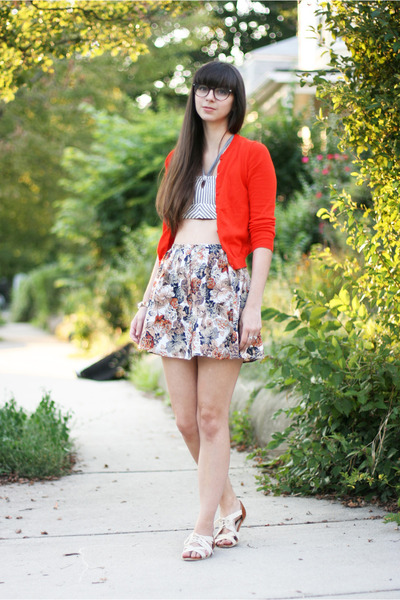 navy Forever 21 skirt - carrot orange Jcrew cardigan