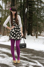Black-thrifted-dress-magenta-target-tights-black-chanel-purse