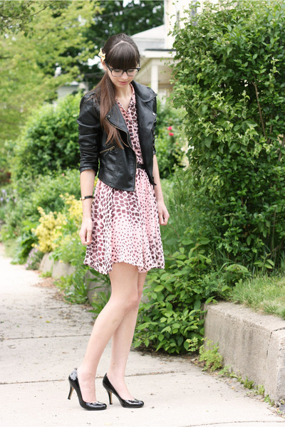 black Sheinside jacket - pink thrifted dress - black Nine West heels