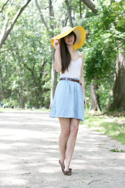 yellow Target hat - white hollister t-shirt - light blue Anthropologie skirt