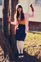 pink Victorias Secret cardigan - mustard JCrew t-shirt - navy American Apparel s
