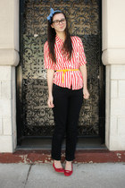 thrifted shirt - H&M belt - Gap pants - headband Anthropologie accessories - mos