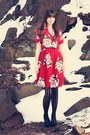 Ruby-red-anthropologie-dress-black-urban-outfitters-tights-black-steve-madde