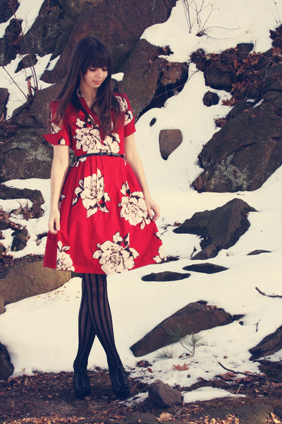 ruby red Anthropologie dress - black Urban Outfitters tights - black Steve Madde
