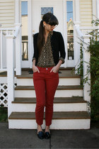 red Urban Outfitters pants - brown leopard thrifted shirt - black Jcrew cardigan