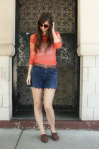 brown big buddha shoes - carrot orange Anthropologie sweater - navy thrifted and