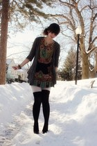 black printed Forever 21 dress - dark gray Anthropologie sweater - off white Urb