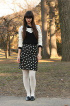 black H&M sweater - ivory Urban Outfitters tights - black handmade skirt