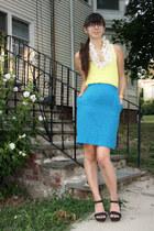 light yellow H&M t-shirt - blue thrifted skirt - white polka dot handmade blouse