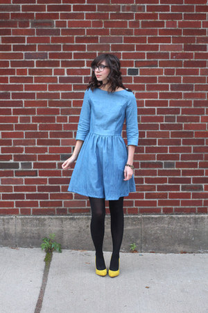 sky blue handmade dress - black H&M tights - yellow shoemint heels