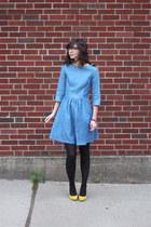 sky blue handmade dress - black H&M tights - yellow shoemint heels