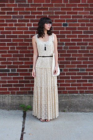 black shopHollyDolly necklace - ivory Anthropologie dress - black H&M belt