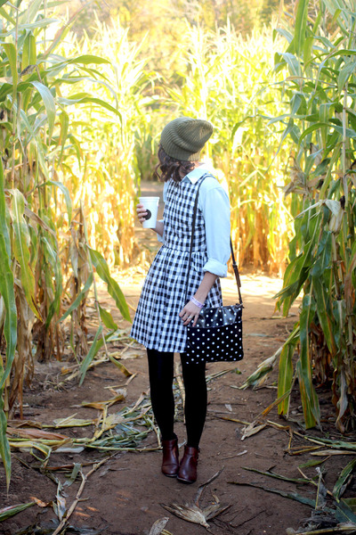 black Ruche dress - brown modcloth boots - olive green Urban Outfitters hat