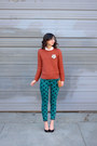 Teal-forever-21-jeans-burnt-orange-sheinside-sweater