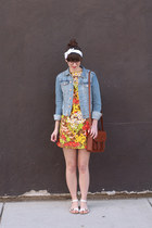 sky blue H&M jacket - red vintage dress - brown H&M bag