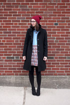 black Target boots - black Guess coat - maroon Urban Outfitters hat