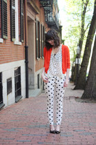 red Jcrew cardigan - black Salvatore Ferragamo shoes - ivory foever21 pants