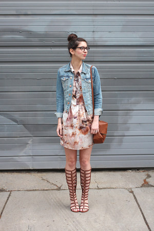 sky blue H&M jacket - pink  dress - brown H&M purse - brown Wanted sandals