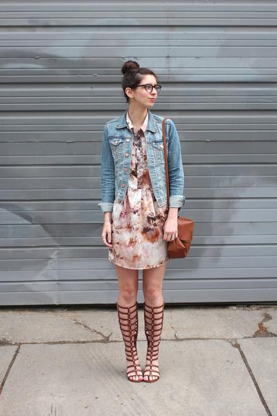 sky blue H&M jacket - pink  dress - brown H&M purse - brown Wanted sandals