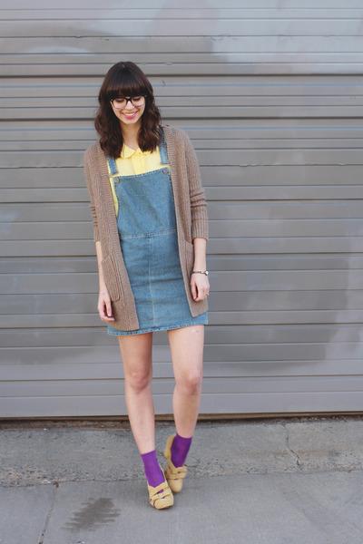 light yellow Forever21 shirt - sky blue Topshop dress