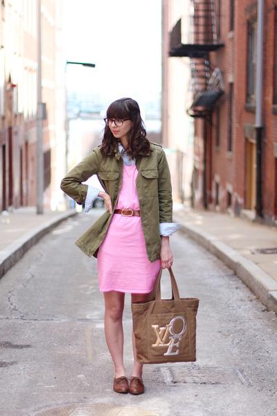 brown big buddha shoes - bubble gum Target dress - olive green Forever21 jacket