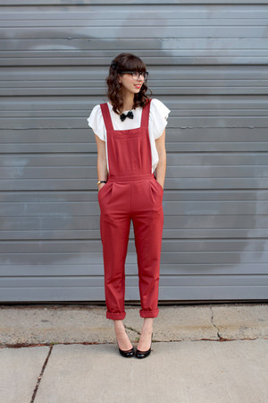 black shopHollyDolly necklace - white asos blouse - red asos romper