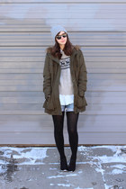 army green Max Studio coat - black Target boots - heather gray thrifted sweater