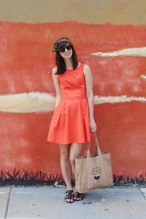 carrot orange eShakti dress - brown thrifted scarf - black shoemint sandals