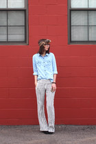 light blue Old Navy shirt - brown thrifted scarf - off white Loft pants